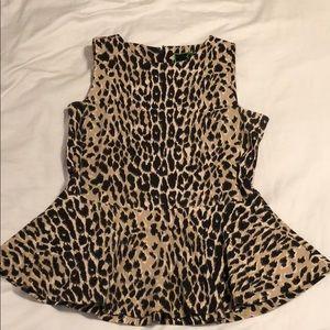 CWonder Cheetah Print Peplum Sleeveless Top